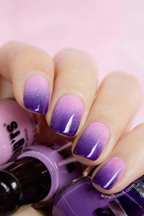 ombre pink to purple nails are a trendy idea