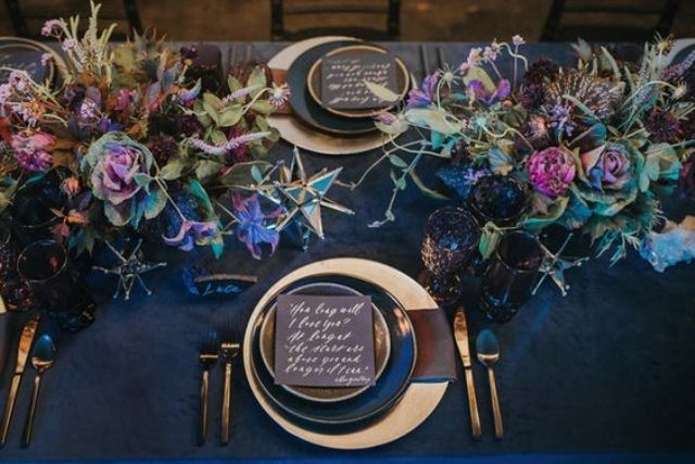 navy velvet tablecloth for a moody wedding table setting