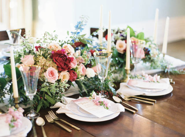 Jewel toned centerpieces with ruby peonies | Kelli Lynn Photography