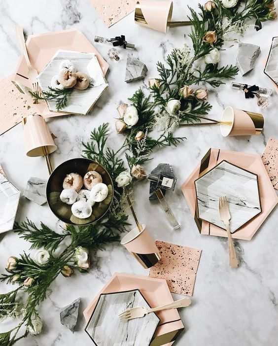 hexagon chargers and marble hexagon plates for an edge modern table setting