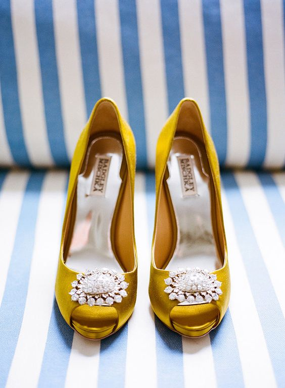 mustard peep toe wedding shoes with jewelry