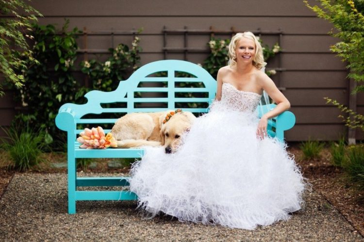 strapless lace bodice ballgown with a feather skirt
