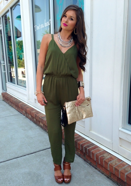 With brown sandals and metallic clutch