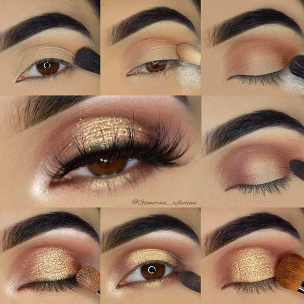 Gold Glitter Eye Makeup Tutorial for Brown Eyes