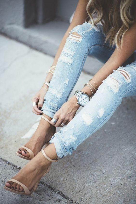 How to Wear Ripped Jeans with Ankle Strap Sandals