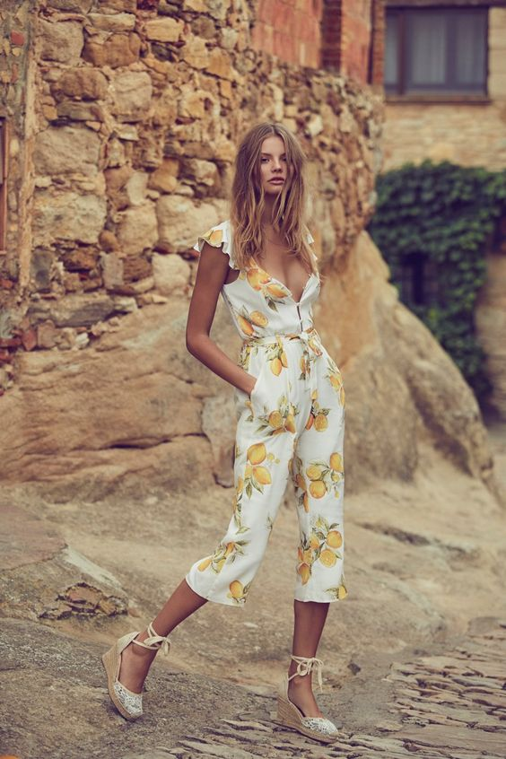 ankle lemon print jumpsuit with pockets and platform shoes