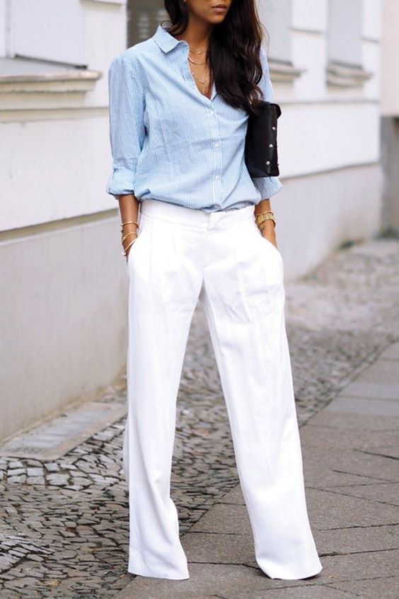 white pants, a blue striped shirt for an effortlessly chic summer work look