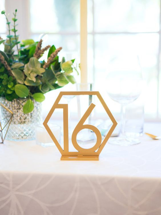 honeycomb shaped table number will fit any wedidng style