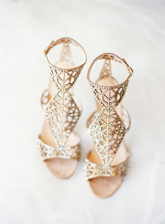 gold Sergio Rossi embellished sandals for a wow effect