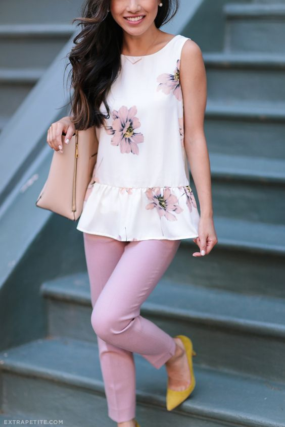 pink pants, a floral ruched top and yellow shoes for a summer work look