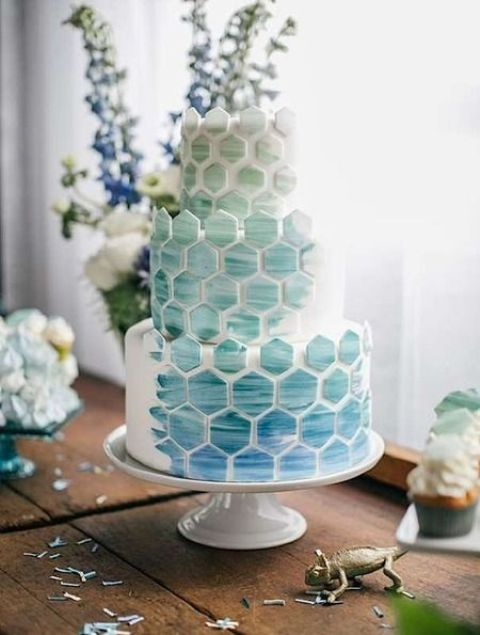ombre sea glass and blue marble tile wedding cake for a coastal wedding