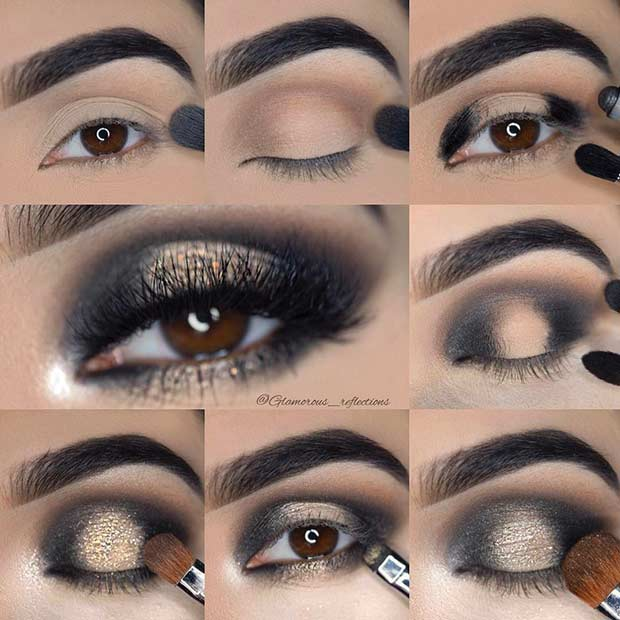 Black Smokey Eye Tutorial with a Pop of Gold