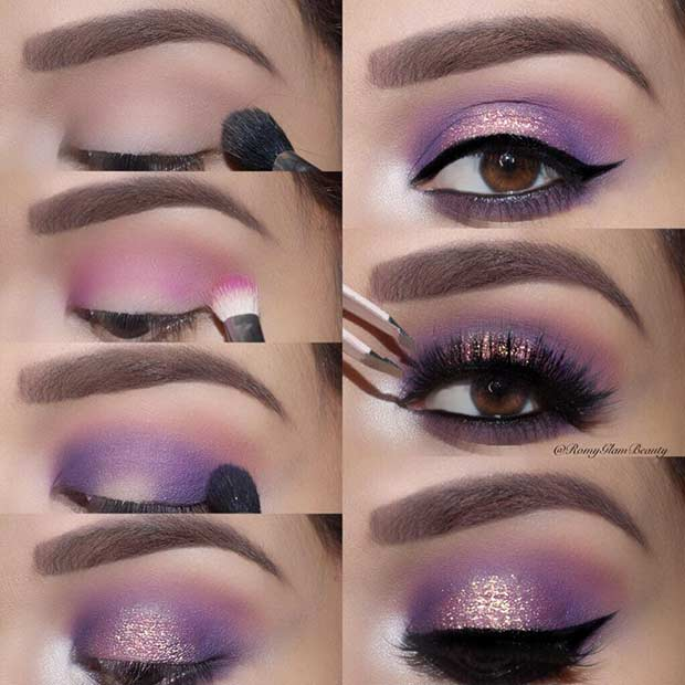 Purple Smokey Eye Step by Step Look