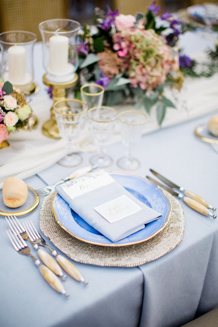 blue place settings - photo by Booth Photographics http://ruffledblog.com/watercolor-destination-wedding-in-florence