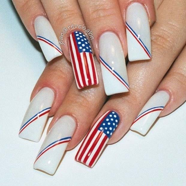 American Flag Accent Nail for 4th of July Nail Design Idea