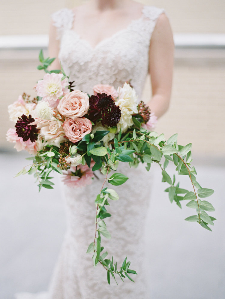 organic rose bouquets - photo by Bethany Erin Photography http://ruffledblog.com/modern-meets-rustic-wedding-in-dallas