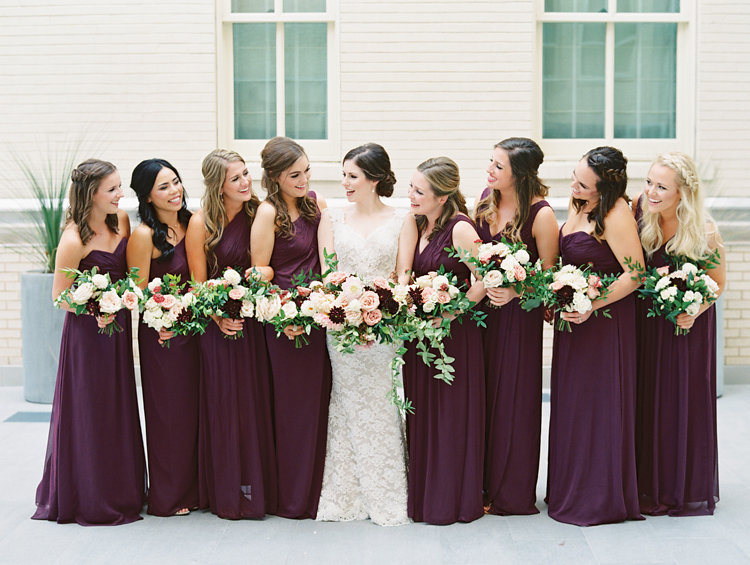 burgundy bridesmaid dresses - photo by Bethany Erin Photography http://ruffledblog.com/modern-meets-rustic-wedding-in-dallas