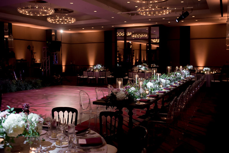 ballroom wedding receptions - photo by Bethany Erin Photography http://ruffledblog.com/modern-meets-rustic-wedding-in-dallas