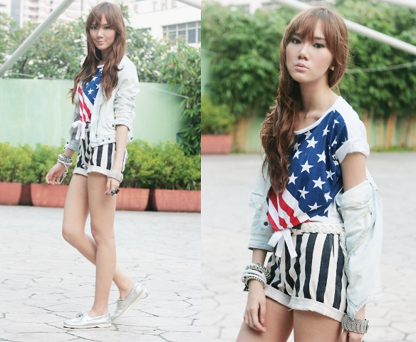 With printed shirt, white jacket and striped shorts