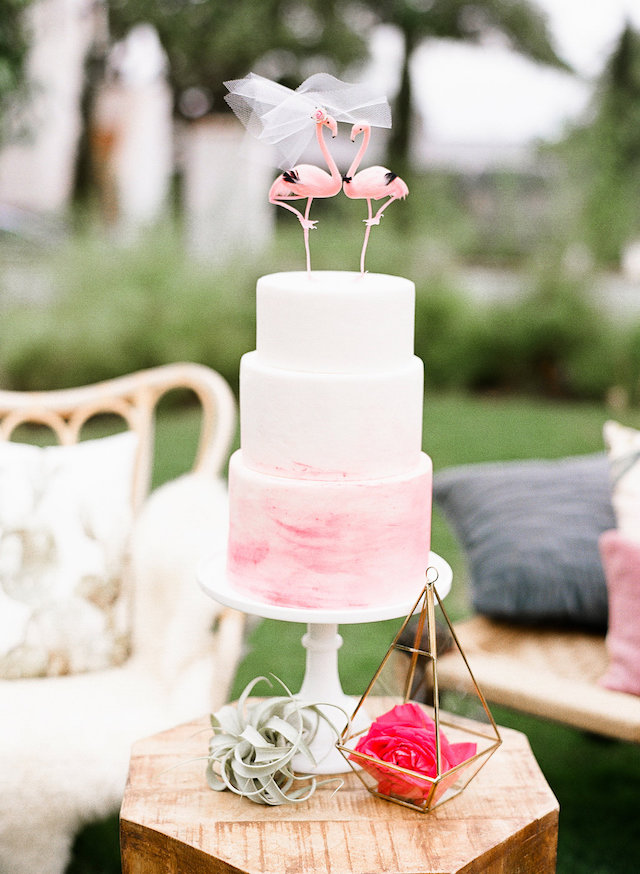 Pink flamingo wedding cake topper | Leighanne Herr Photography