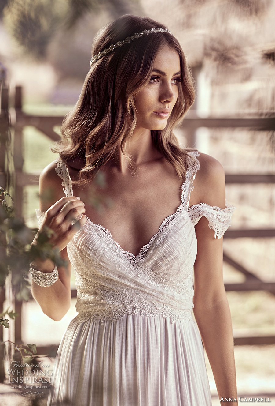 anna campbell 2018 bridal off shoulder with strap sweetheart neckline wrap over bodice soft a line wedding dress open back sweep train (9) zv