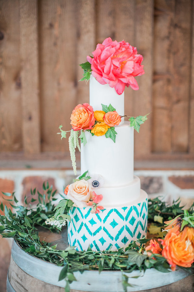 Colorful summer wedding cake with pink peony cake topper | Nicole Chatham Photography