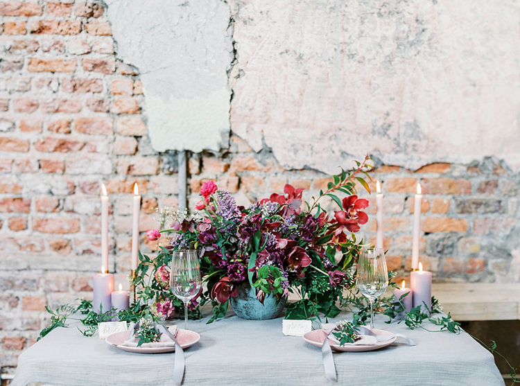 romantic wedding flowers - photo by Studio Brown http://ruffledblog.com/industrial-wedding-shoot-in-dublin-with-serious-romantic-vibes