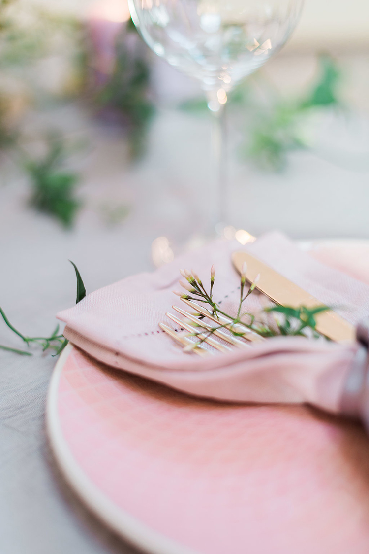 pink wedding plates - photo by Studio Brown http://ruffledblog.com/industrial-wedding-shoot-in-dublin-with-serious-romantic-vibes