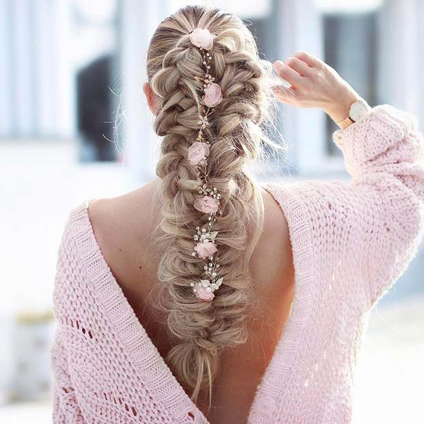 Floral Braid for Bridesmaid Hair Ideas