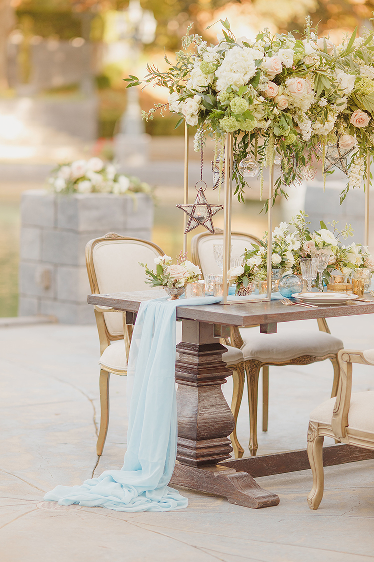 romantic garden wedding receptions - photo by Kristen Booth Photographer http://ruffledblog.com/majestic-castle-wedding-inspiration-with-celestial-accents