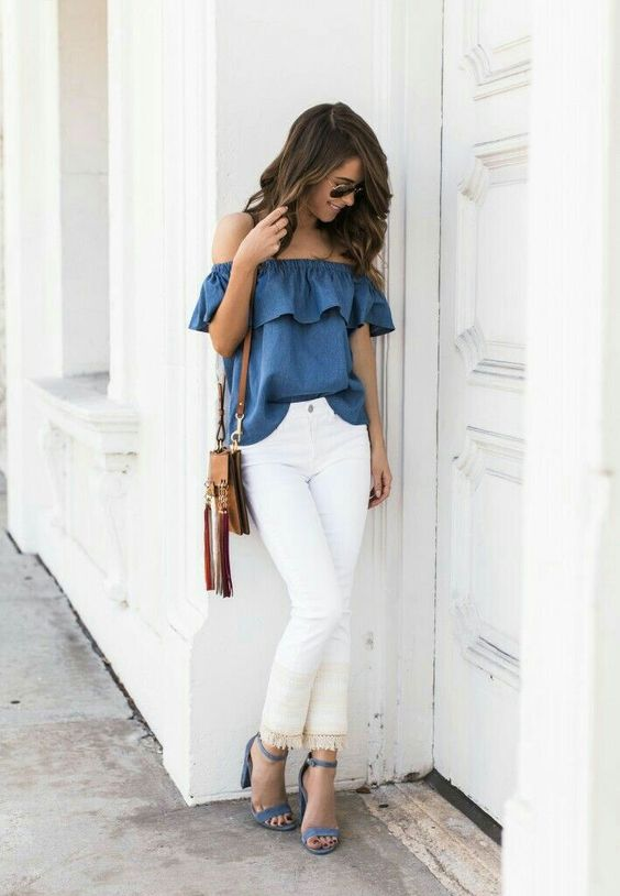 white fringe jeans, an off the shoulder chambray top and suede heeled sandals