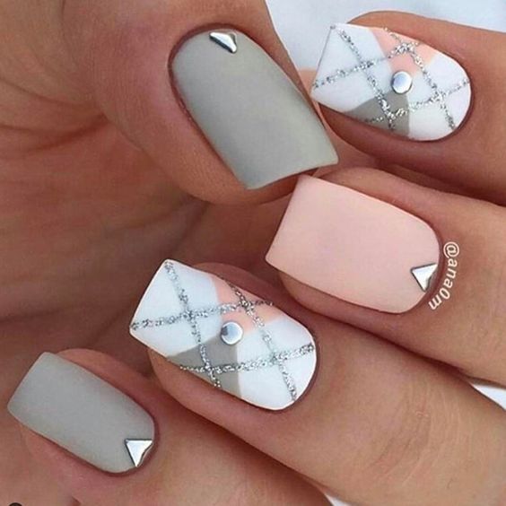 matte pink, grey and white nails with beading for a romantic and elegant look