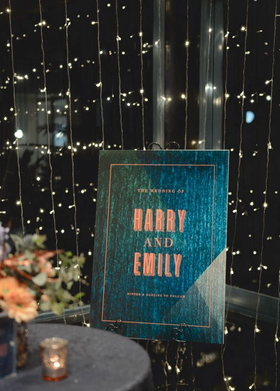 teal and copper wedding sign looks stylish and chic