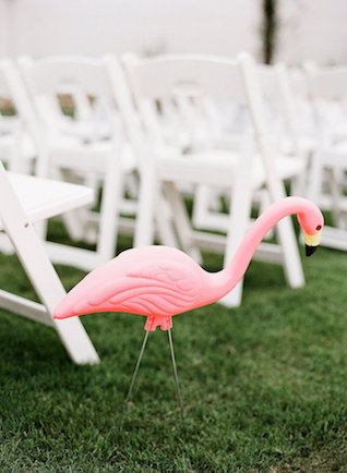 Pink flamingo wedding ceremony decor | Leighanne Herr Photography