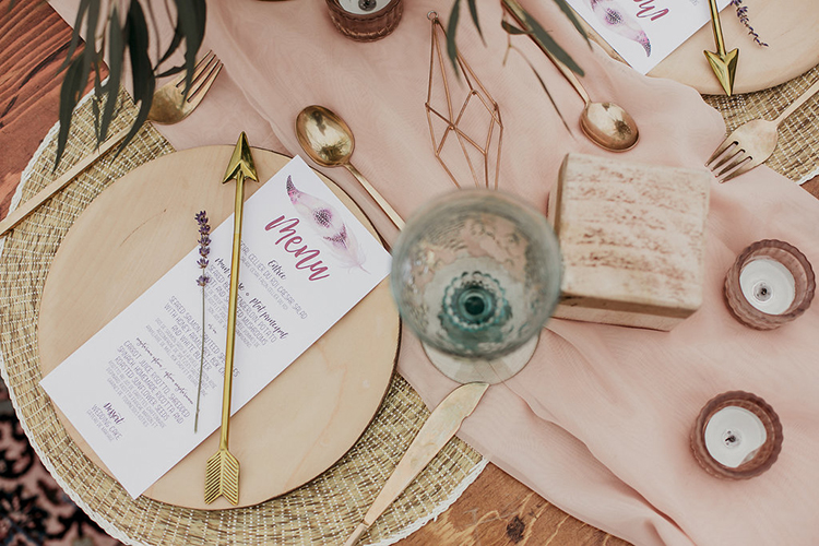 wedding place settings - photo by Sarah White Photography http://ruffledblog.com/boho-bridal-shower-inspiration-for-your-bride-tribe