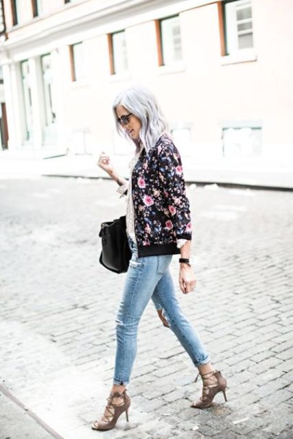 ripped cropped jeans, brown lac eup heels and a black floral print bomber