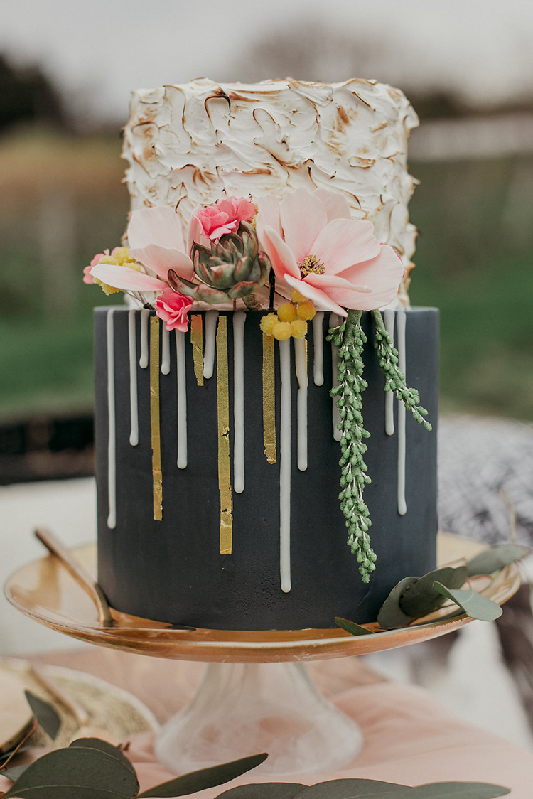romantic drip cakes - photo by Sarah White Photography http://ruffledblog.com/boho-bridal-shower-inspiration-for-your-bride-tribe