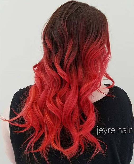 Bold Coral, Red and Orange Tone Ombre for Brunettes
