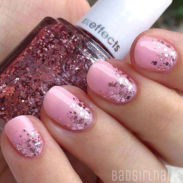 Light Pink and Glitter for Elegant Nail Designs for Short Nails