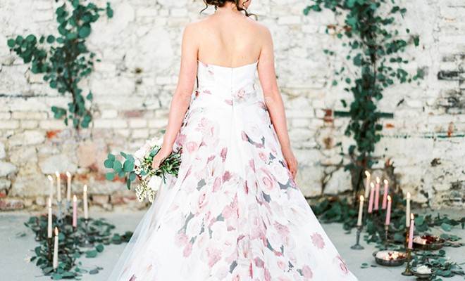 Tuscan Warehouse Wedding Inspiration with a Floral Bridal Gown | Wedding