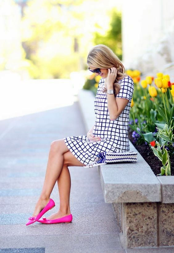 navy and white windowpane mini dress and pink flats for a playful and cheerful look