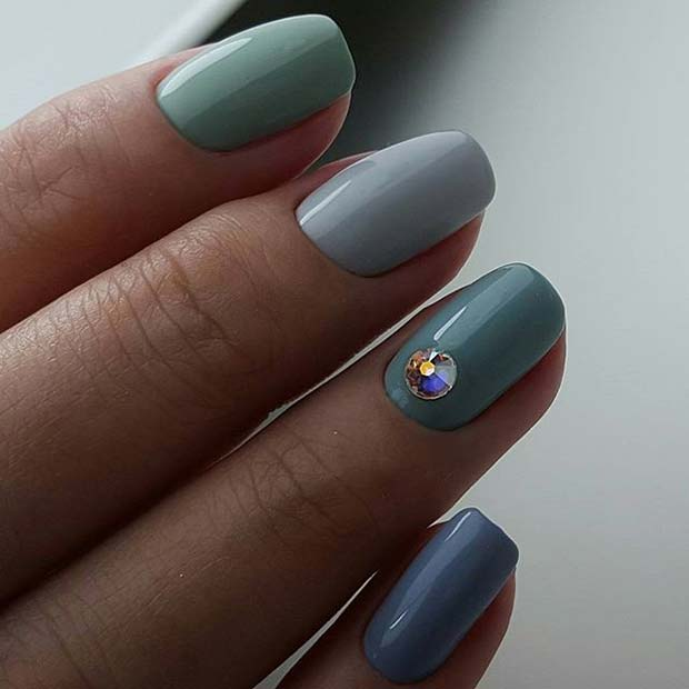 Different Shades of Blue for Elegant Nail Designs for Short Nails