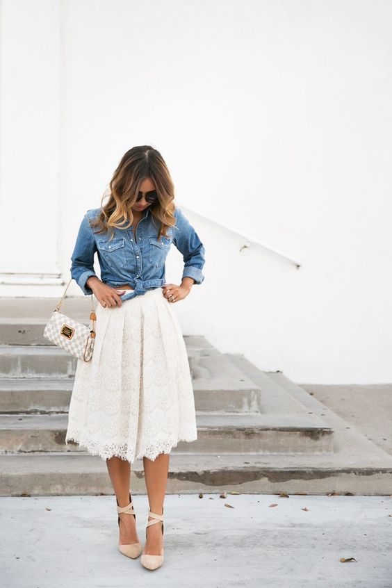 a midi ivory lace skirt, a tie chambray shirt and criss cross ankle suede shoes