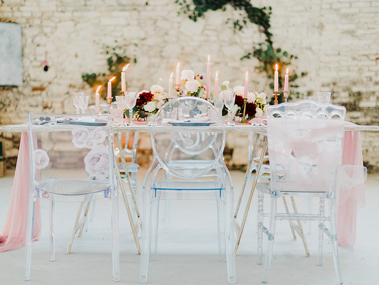 romantic wedding receptions - photo by Linda Nari Photography http://ruffledblog.com/tuscan-warehouse-wedding-inspiration-with-a-floral-bridal-gown