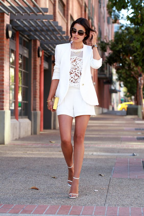 summer casual look with a white blazer, a white lace semi sheer top, white shorts and ankle strap heeled sandals