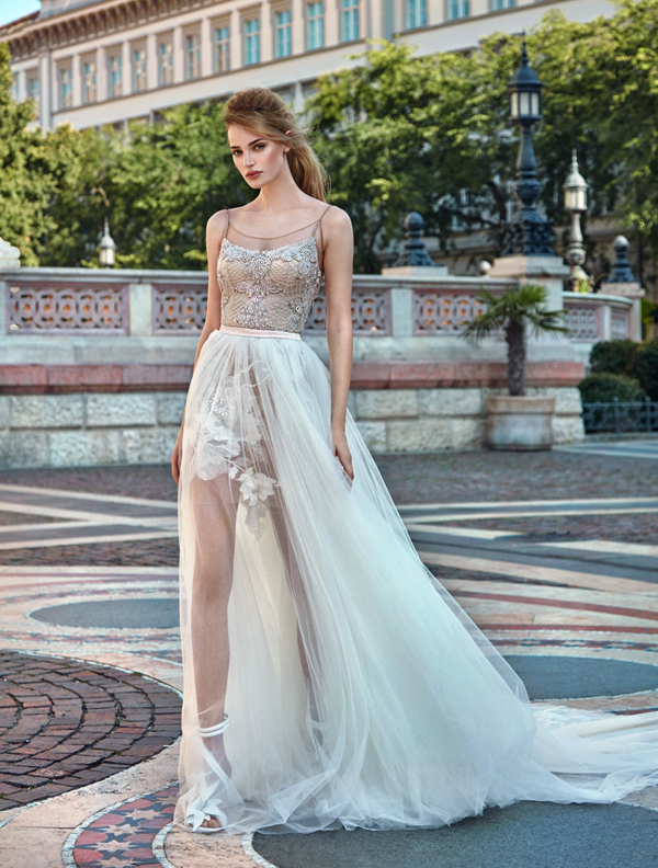 spaghetti strap beaded and embroidered bodice short dress with a long tulle overskirt for the ceremony