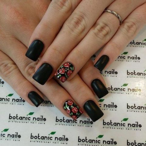 matte black nails and accent rose ones for a moody look