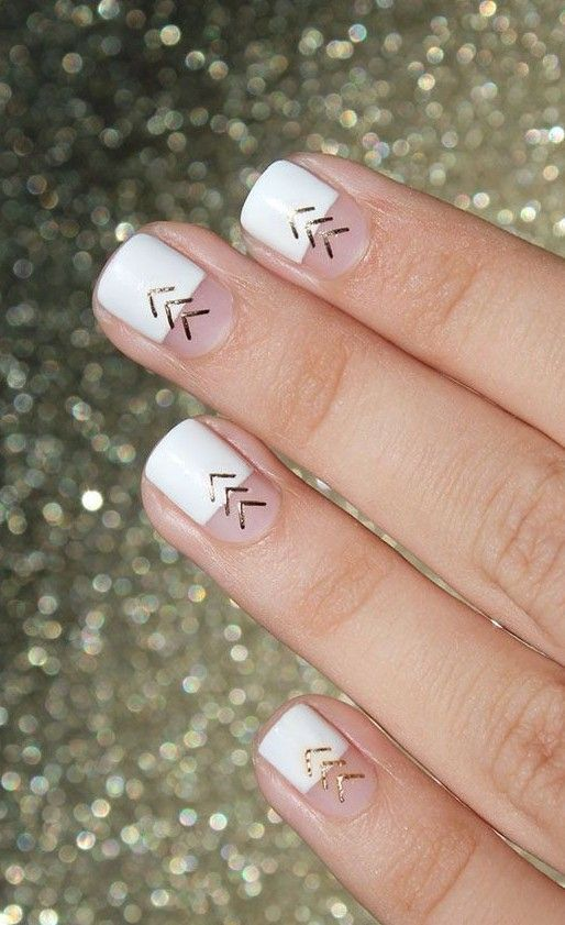 white and gold chevron nails are a chic and modern idea suitable for offices
