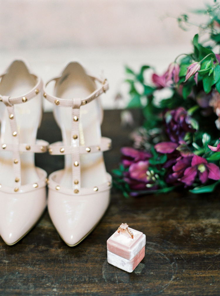 studded wedding shoes - photo by Studio Brown http://ruffledblog.com/industrial-wedding-shoot-in-dublin-with-serious-romantic-vibes