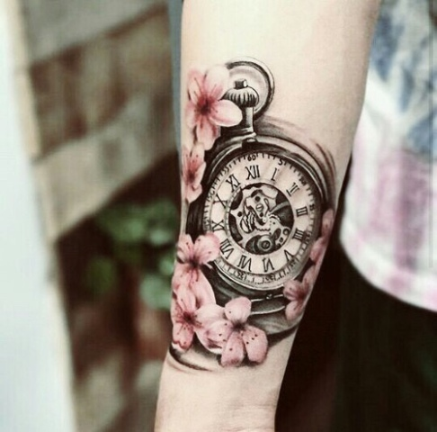 Clock with cherry blossoms tattoo